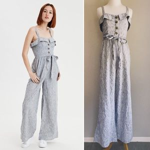 Blue&White Striped Button Front Wideleg Jumpsuit